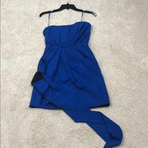 Express royal blue strapless formal dress